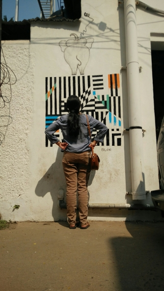 Admiring the street art