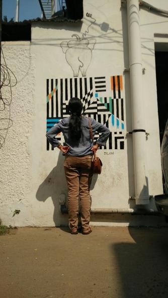 Admiring the street art